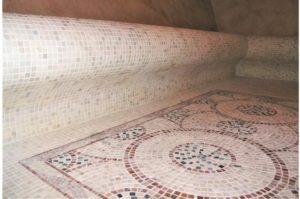 розетка бежевого розового шлифованного мраморная мозаика 4