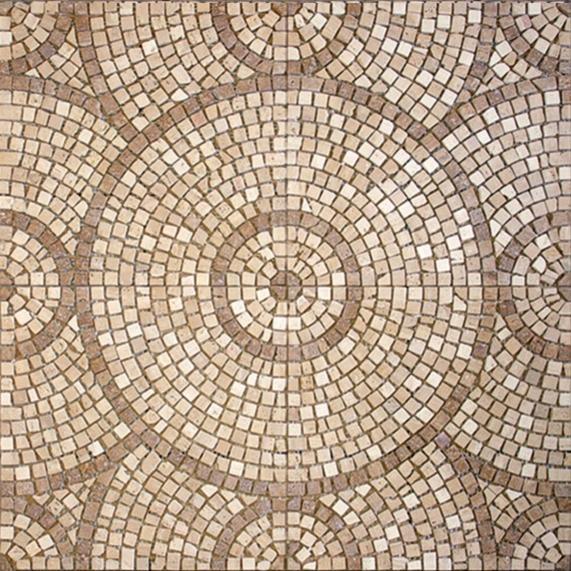 розетка бежевого шлифованного мраморная мозаика