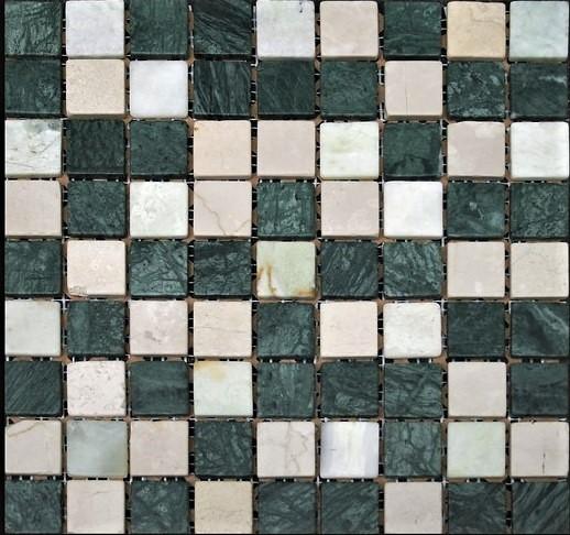 зеленая бежевая шлифованная мраморная мозаика