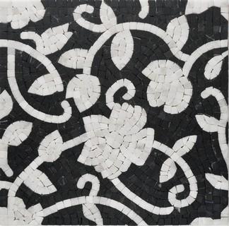 роза черно-белая мраморное панно