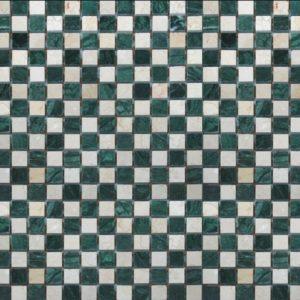 щахматка зеленая бежевая полированная мраморная мозаика