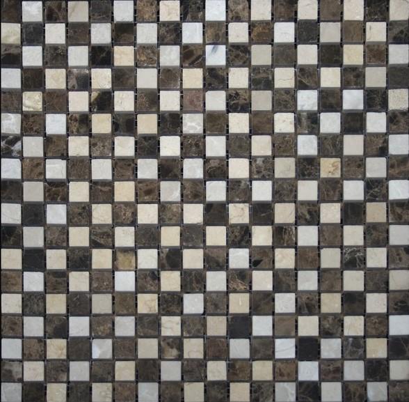 щахматка марон бежевая полированная мраморная мозаика